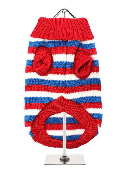 Red, White & Blue Striped Dog Sweater - Reverse