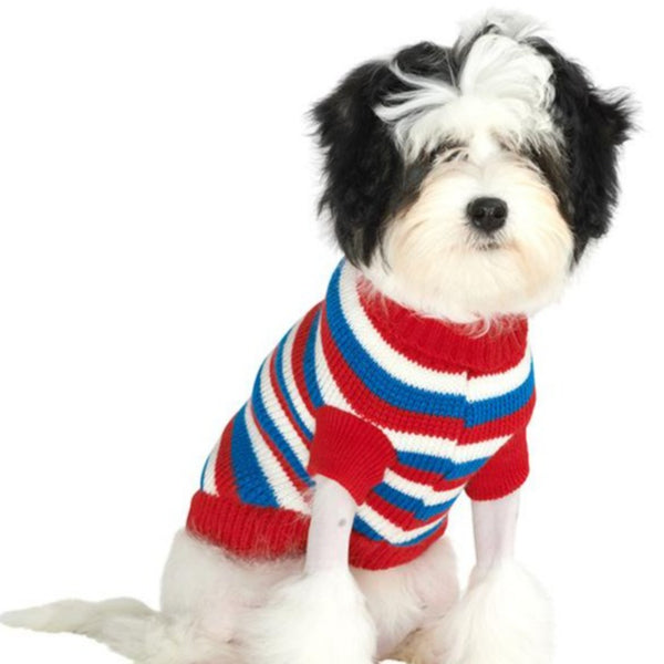Red, White & Blue Striped Dog Sweater - Modelled by Dog