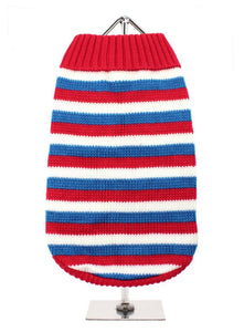 Red, White & Blue Striped Dog Sweater