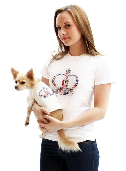 Royal Crown White GlamourGlitz Dog T-Shirt