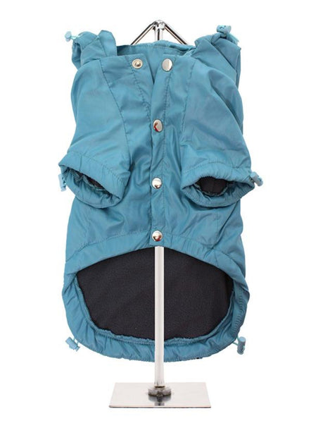 Teal Blue Rainstorm Waterproof Dog Coat - Reverse View