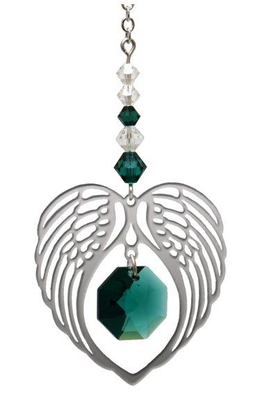 Angel Wing Crystal Hanging Heart Birthstone Emerald
