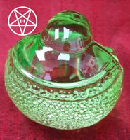 Coloured Glass Buddha Paperweight Figurine Green