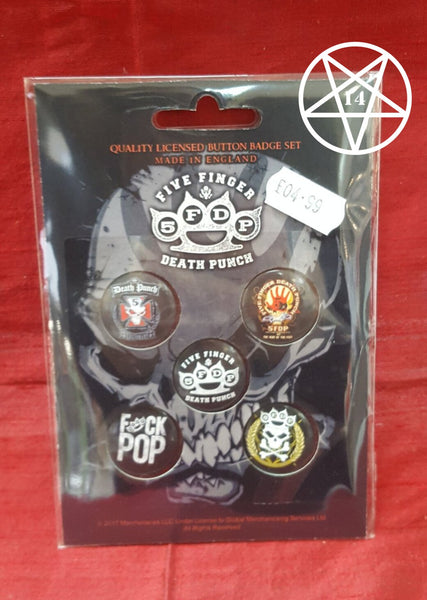 Five Finger Death Punch Band Button Badge Set