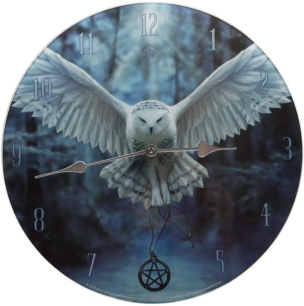 Awaken your Magic Owl Glass Wall Clock design by Anne Stokes 34cm