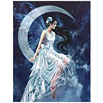 FROST MOON CANVAS PICTURE PLAQUE FAIRY BY NENE THOMAS 19X25CM