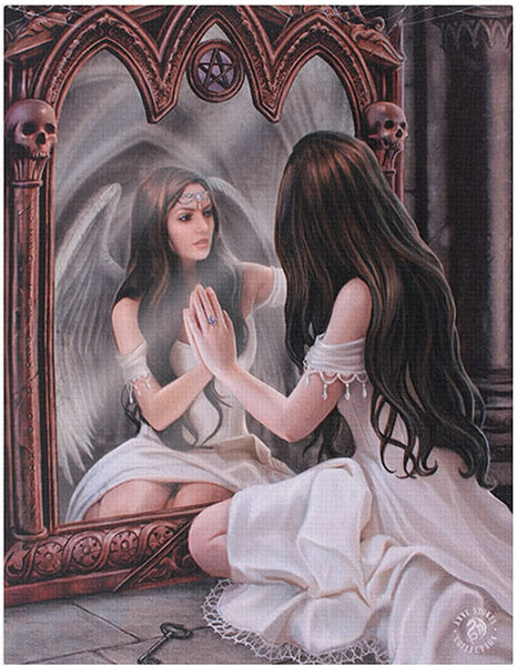 MAGIC MIRROR CANVAS PICTURE PLAQUE FAIRY BY ANNE STOKES 19X25CM