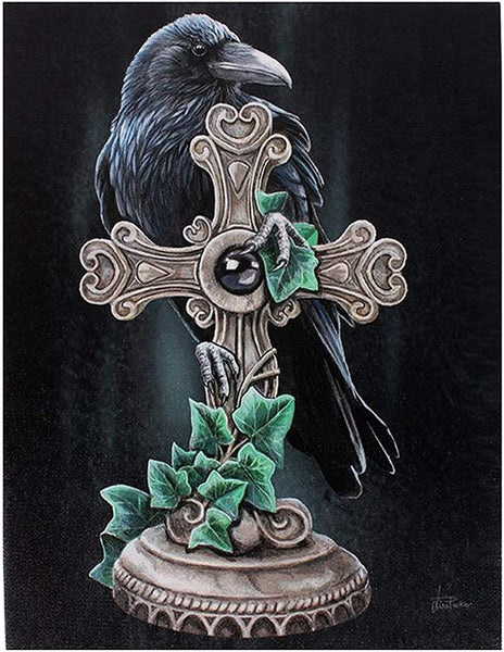19X25CM THE FALLEN RAVEN AND CROSS CANVAS PICTURE PLAQUE BY LISA PARKER
