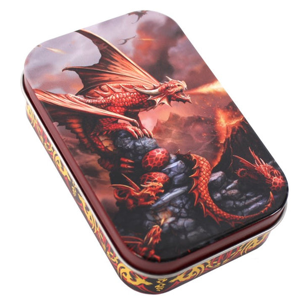 AGE OF DRAGONS FIRE DRAGON METAL TIN design by Anne Stokes
