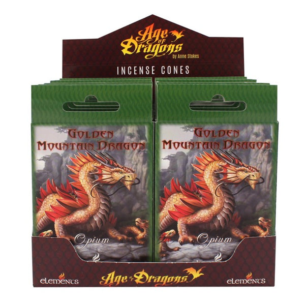 GOLDEN MOUNTAIN DRAGON INCENSE CONES DESIGN BY ANNE STOKES
