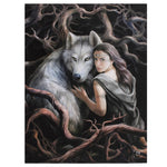 19X25CM SOUL BOND WOLF CANVAS PLAQUE PICTURE BY ANNE STOKES