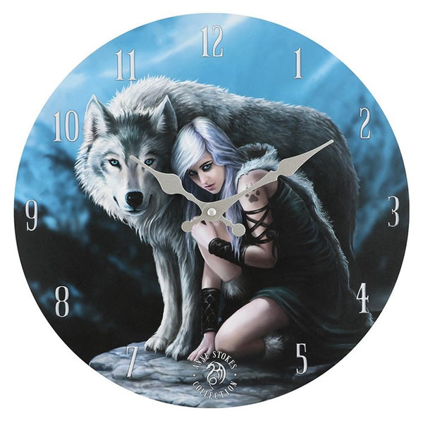 PROTECTOR WALL CLOCK WOLF BY ANNE STOKES
