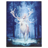 FANTASY FOREST STAG CANVAS PICTURE PLAQUE BY ANNE STOKES 19X25CM