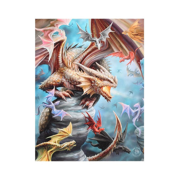 19X25CM DRAGON CLAN CANVAS PICTURE PLAQUE BY ANNE STOKES