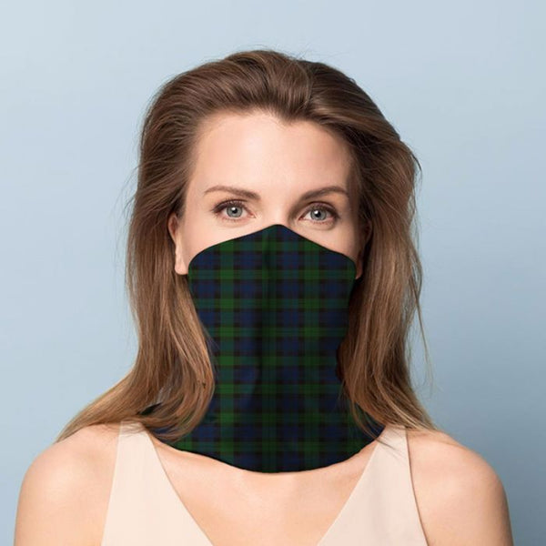 Green & Blue Tartan Neck Scarf Face Covering