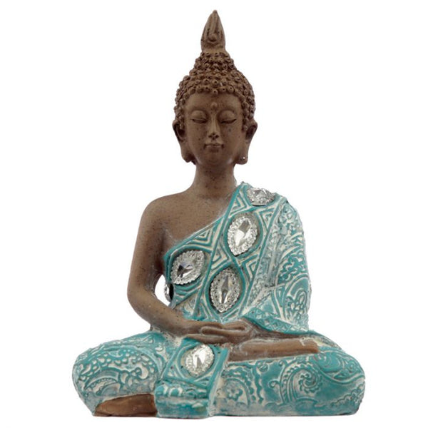 Thai Buddha Figurine, Brown, White and Turquoise - Hands Rested