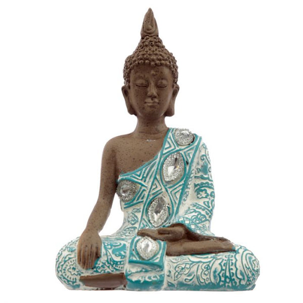 Thai Buddha Figurine, Brown, White and Turquoise - Hands Lowered