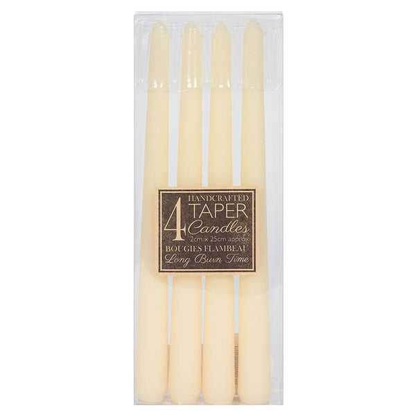 IVORY TAPER CANDLES PACK OF 4