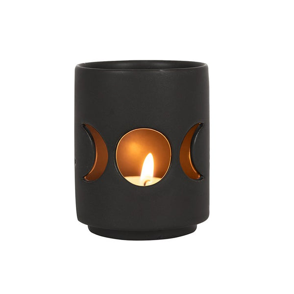 SMALL BLACK TRIPLE MOON CUT OUT TEALIGHT HOLDER