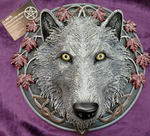 Guardian of the Fall White Autumn Wolf Wall Plaque 29cm design by Lisa Parker