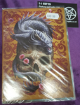 Oriental Dragon Skull Greetings Card design by Anne Stokes