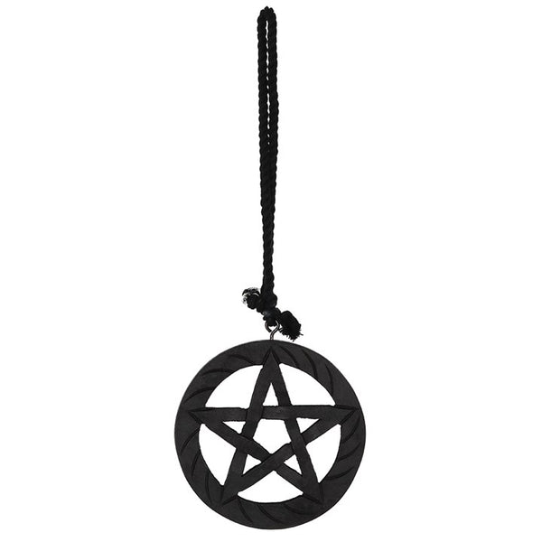BLACK WOODEN HANGING PENTAGRAM WALL ART