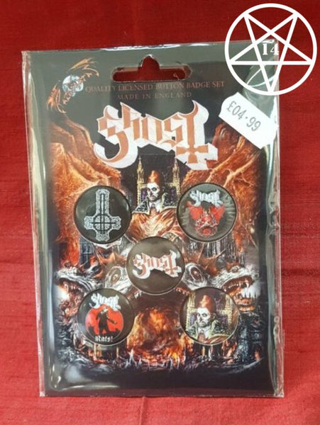 Ghost Band Button Badge Set