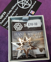 St Justin Double Star Pentagram Brooch Badge