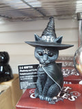 13.5cm Purrah Witches Hat Occult Cat Figurine