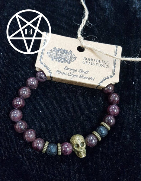 Bronze Skull, Blood Stone and Lava Gemstone Crystal Bracelet