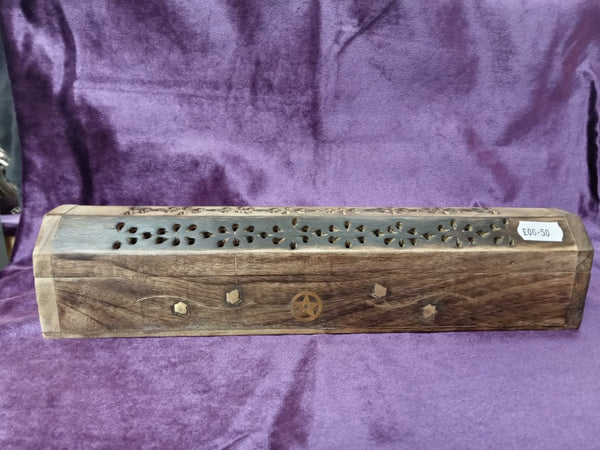 MANGO WOOD INCENSE STICK/CONE BURNER/HOLDER/BOX WITH BRASS PENTAGRAM INLAY