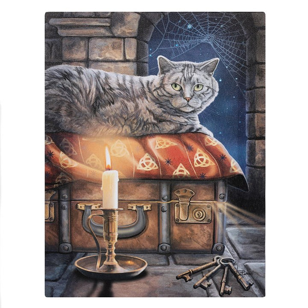 19X25CM THE KEEPER OF SECRETS CAT CANVAS PLAQUE PICTURE BY LISA PARKER