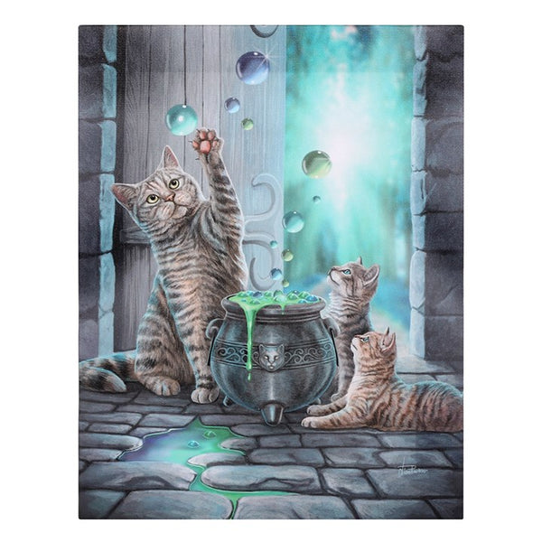 19X25CM HUBBLE BUBBLE CANVAS CAT PICTURE PLAQUE BY LISA PARKER