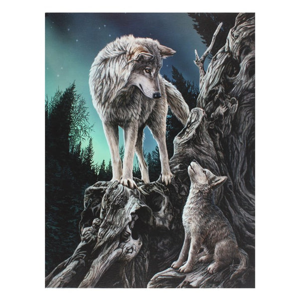 19X25CM GUIDANCE WOLF CANVAS PICTURE PLAQUE BY LISA PARKER
