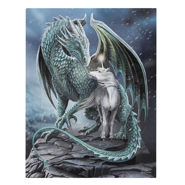 PROTECTOR OF MAGICK DRAGON UNICORN CANVAS PLAQUE PRINT PICTURE BY LISA PARKER