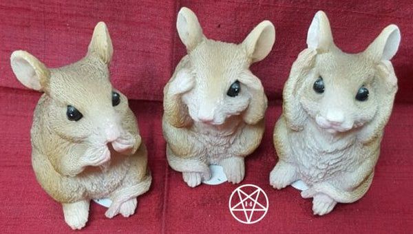 See No, Hear No, Speak No Evil Mice Figurines Three Wise Mice 8cm