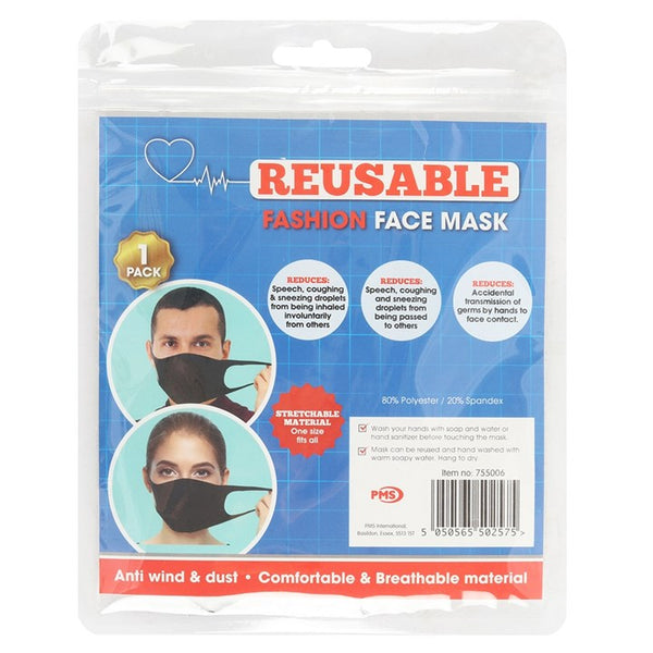 PLAIN BLACK REUSABLE FACE MASKS