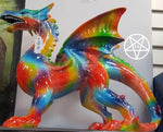 Multi-coloured Rainbow Dragon Ornament Figurine 30cm