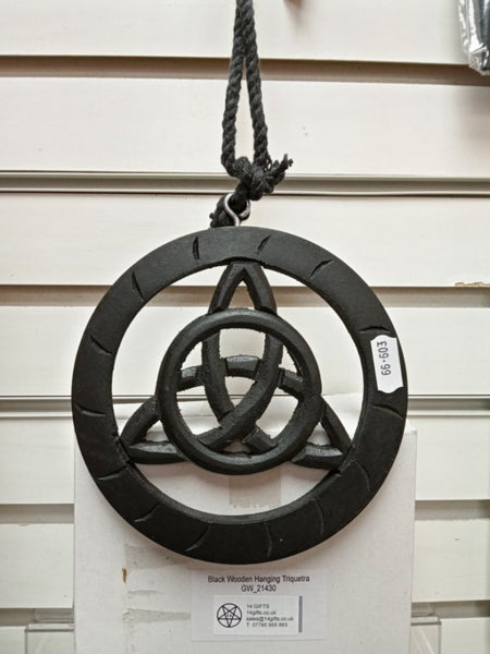 BLACK WOODEN WALL HANGING TRIQUETRA