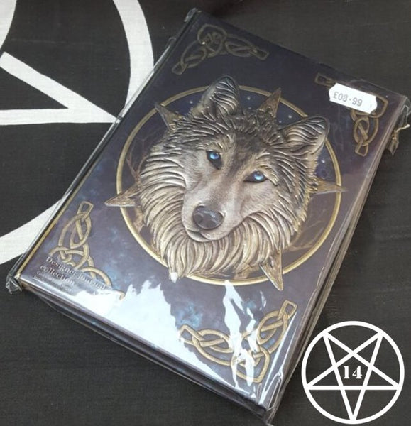 Embossed Journal The Wild One Wolf Design by Lisa Parker 17cm