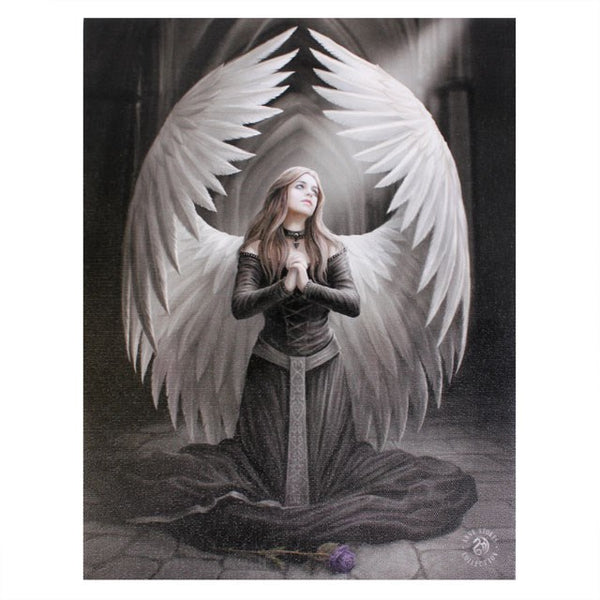 19X25CM PRAYER FOR THE FALLEN ANGEL CANVAS PICTURE PLAQUE BY ANNE STOKES