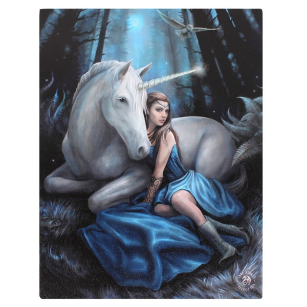 19X25CM BLUE MOON UNICORN CANVAS PLAQUE PICTURE BY ANNE STOKES