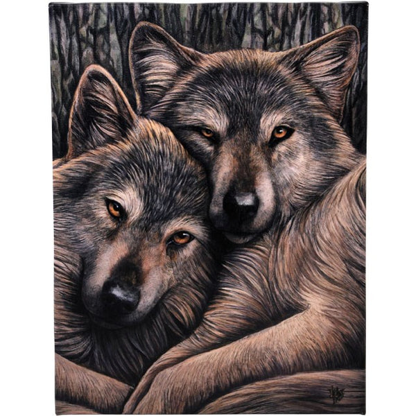 19X25CM LOYAL COMPANIONS WOLF CANVAS PLAQUE PICTURE BY LISA PARKER