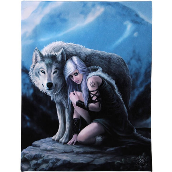 19X25CM PROTECTOR WOLF CANVAS PICTURE PLAQUE BY ANNE STOKES