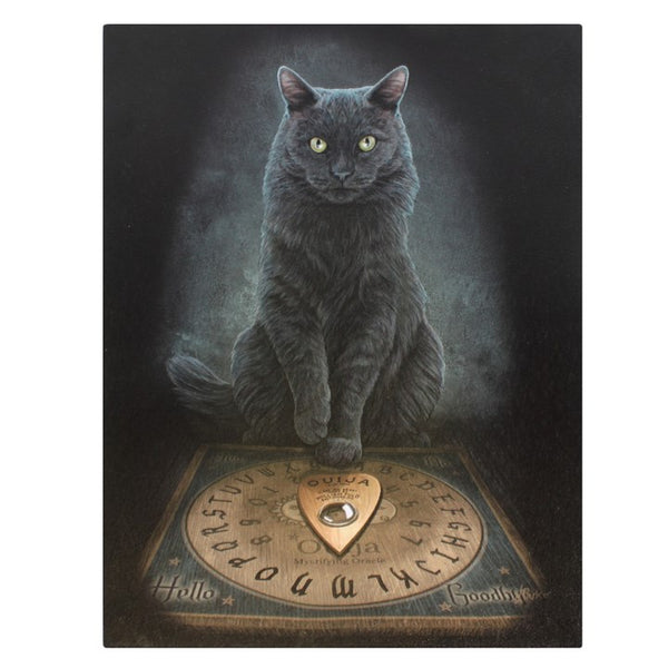 19X25CM HIS MASTER'S VOICE CAT OUIJA BOARD CANVAS PLAQUE PICTURE BY LISA PARKER