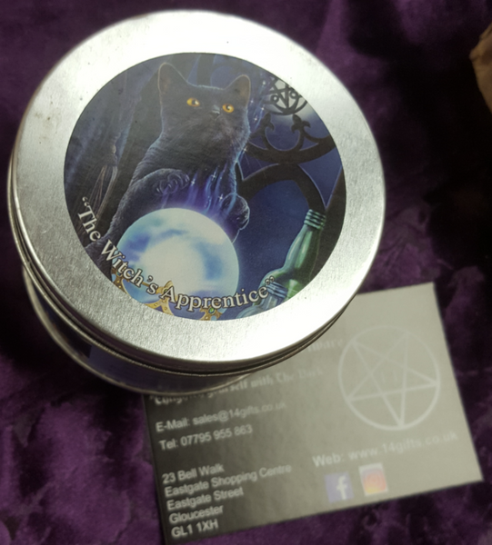 Witches Apprentice Cat Lavender and Rosemary Fragrance Candle in a Tin, design by Lisa Parker