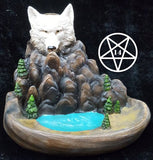 Wild Ridge Wolf and Mountain Pool Backflow Incense Cone Burner 16.7cm