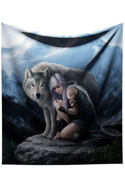 Protector Wolf Throw Blanket Design by Anne Stokes 160cm