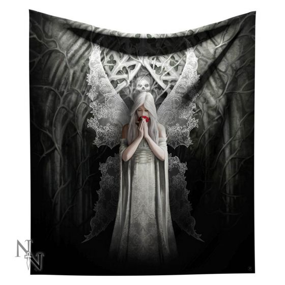 Only Love Remains Throw Blanket Pure Gothic Angel Blanket Design by Anne Stokes 160cm