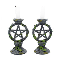 Set of 2 Wiccan Pentagram Candlesticks Witch Candle Holders 15cm
